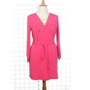 Michael Kors New Chain Lace Up Dress Pink Sz XL